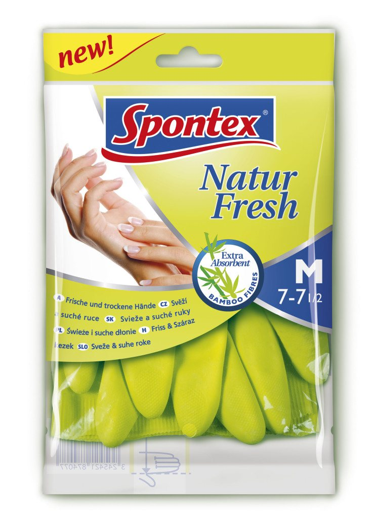 Spontex rukavice latexové natur fresh M 7/7,5