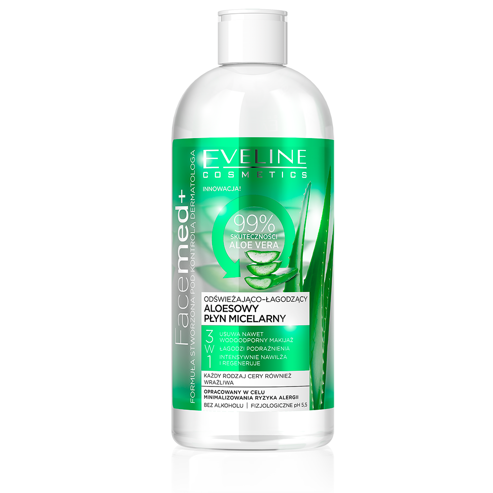 Eveline Facemed+ micelárna vody Aloe Vera 3v1 400ML