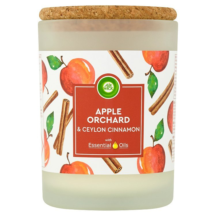 Air wick vonná sviečka v skle apple orchard & ceylon cinnamon 185g