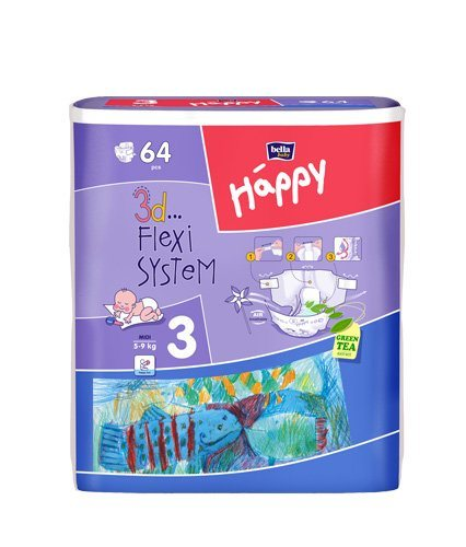 BELLA HAPPY DESTKÉ PLIENKY MIDI 5-9KG 64KS